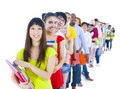 Group of diverse student standing in line Royalty Free Stock Photo