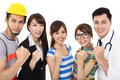 Group of diverse young people in different occupations Royalty Free Stock Photo