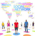 Group of diverse young people standing with social network concept Stock Photo