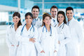 Group of doctors at the hospital looking happy Royalty Free Stock Photo