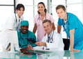 Group of doctors in a meeting Royalty Free Stock Photo