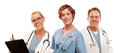 Group of Doctors or Nurses on a White Background Royalty Free Stock Photography