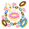 Group of donuts on white background