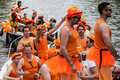 Group dressed like womans at koninginnedag or queens day was a national holiday in the kingdom of the netherlands until celebrated Royalty Free Stock Image