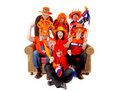 Group of  Dutch soccer fan watching game Royalty Free Stock Photo