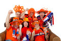 Group of Dutch soccer fans Royalty Free Stock Photography