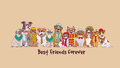 Group fashion best friends pets fun animals card.