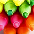 Group of felt tip bright color markers on white background Royalty Free Stock Images