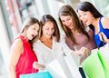 Group of female shoppers Royalty Free Stock Photo