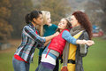 Group Of Female Teenagers Bullying Girl Stock Photography