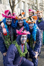 Group with fish costumes on Carnival in Duesseldor Stock Photo