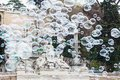 Soap bubbles in piazza del Popolo in Rome Royalty Free Stock Photo