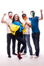 Group of football fans their national team: Ukraine, Germany, Poland, Northern Ireland take selfie Royalty Free Stock Photo