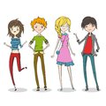 Group of four cartoon young people