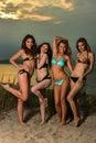 Group of four models wearing bikinis posing at sunset beach photo shoot Stock Photo