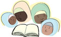 Group of four muslim women around a book Stock Images