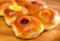 Group of four rolls from yeast dough with jam small depth of sharpness Stock Photo
