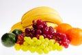 Group of fresh citrus fruits isolated on white background colorful Stock Image