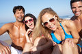 Group Of Friends Enjoying Beach Holiday Royalty Free Stock Photo