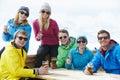 Group Of Friends Enjoying Drink In Bar At Ski Resort Royalty Free Stock Photo