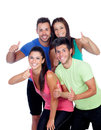 Group of friends with fitness clothes saying ok isolated on a white background Royalty Free Stock Images