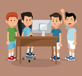 Group friends gamers happy online with laptop