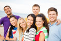 Group of friends having fun on the beach summer holidays vacation and happiness concept Royalty Free Stock Photos