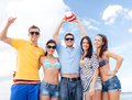 Group of friends having fun on the beach summer holidays vacation happy people concept Royalty Free Stock Photo
