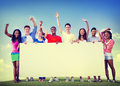 Group friends outdoors volunteer unity cooperation fun concept Stock Images