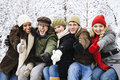 Group of friends outside in winter Royalty Free Stock Photography