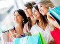 Group of friends shopping Stock Photography