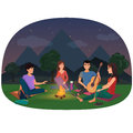 A group of friends sitting at the campfire in the night in mountains vector illustration. Camping picnic people.
