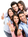 Group friends thumbs up isolated over white Royalty Free Stock Image