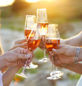 Group of friends toasting champagne sparkling wine at a relax party celebration gathering Stock Photos