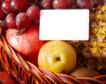 Group of fruit in basket with banner. Royalty Free Stock Photography