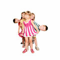 Group of fun children playing and laughing isolated on white background Royalty Free Stock Images