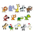 Group of funny animals vector cartoon isolated characters Royalty Free Stock Images
