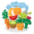Group of funny fruit and vegetables friends. Vector characters with happy smiling faces