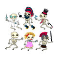 Group of funny skeletons vector isolated characters Royalty Free Stock Photography
