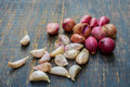 Group of garlic vegetable and red onion Royalty Free Stock Photo