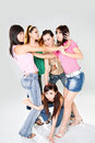 image photo : A group of girl friends cat fight