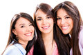 Group girl friends isolated over white background Royalty Free Stock Photo