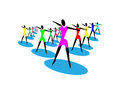 Group of girls dancing symbol of sports club gymnastics sign on white background this represents sign or dance pub and used as Stock Photography