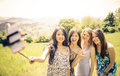 Group of girls taking selfie in the nature Royalty Free Stock Photo