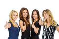 Group of girls with thumbs up isolated on white Royalty Free Stock Images