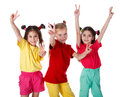 Group of girls with victory sign Royalty Free Stock Photos
