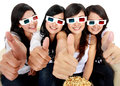 Group of girls watching the movie Royalty Free Stock Photos