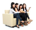 Group of girls watching movie Stock Image