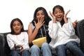 Group of girls watching TV Royalty Free Stock Photo