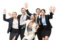 Group of glad managers happy with hands up isolated concept teamwork and cooperation Stock Image